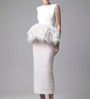 Wholesale ostrich feathers wedding dresses for sale - Group buy 2019 New Tea Length Ostrich Feather Wedding Dresses Krikor Jabotian Outfits Jewel Neckline Sheath Wedding Gowns