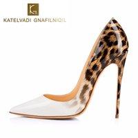 ingrosso scarpe da sera in pelle-Décolleté da donna di marca Scarpe bianche di leopardo Tacchi alti da donna Scarpe da sera a spillo Scarpe da donna sexy in pelle verniciata K-041