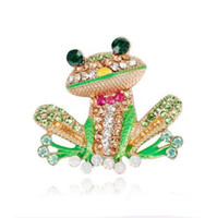 Wholesale sale mexican jewelry resale online - Hot Sale Personality Cartoon Frog Crystal Enamel Pins Brooch for Women Birthday Gift Party Jewelry