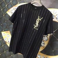 dikey şeritli tişörtler toptan satış-Lüks erkek tasarımcı t shirt marka Yaz Sokak Avrupa Paris Moda Erkekler Yüksek Kalite Dikey şeritler giymek Sıcak sondaj Mektubu nakış