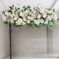 çiçek zemin düğün toptan satış-Lüks Yapay İpek Şakayık Gül Çiçek Satır Düzenleme Malzemeleri Düğün için Kemer Backdrop Centerpieces DIY Malzemeleri