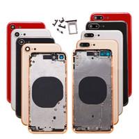 blackberry bold back al por mayor-Cubierta trasera para iPhone 8 Plus Carcasa roja Cubierta de la batería Puerta trasera Marco intermedio Chasis Piezas con botón + SIM Tary