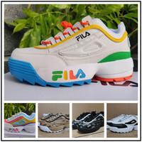 zapatos de deporte de los hombres grandes al por mayor-[Con reloj deportivo]Designer shoes FILA men women  Disruptors 2.0 señoras zapatillas de deporte de color blanco púrpura raf simons ozweego Chaussures Big Sawtooth zapatillas de