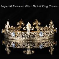 couronnes rondes achat en gros de-Impérial Médiéval Or Roi Pleine Couronne Couronne Tiara Cristal Strass Réglable Fleur De Lis Décor Diadème Costumes De Fête