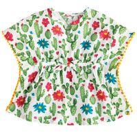 vestido de linho de uma peça venda por atacado-Miúdos Do Bebê Meninas One Piece Cover up Vestido Cactus Praia Sundress CottonLinen Bikini Verão Bonito Princesa Maiô Swimsuit