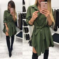 corbata negra vestidos cortos al por mayor-2019 Mujeres Summer Wrap Lrregular Tie Cintura Vestido Manga larga Turn Down Collar Army Green Red Black Mini vestido corto