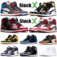 basketbol baskı ayakkabıları toptan satış-Nike Air Jordan Retro 1 OG basketbol ayakkabıları 1 NRG gölge siyah beyaz parmak fil baskı Chicago kraliyet Parça kırmızı sneakrs eğitmenler yasaklandı