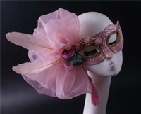 Wholesale pink feather mask resale online - Pink side flower exaggerated half face mask tassel feather lace Halloween party mask beauty god adult