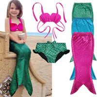 caçoa o swimsuit da sereia venda por atacado-Mermaid Bikini 3PCS / set meninas miúdos da sereia da cauda Costumes swimmable Bikini Set Swimwear Swimsuit Natação MMA2117-1