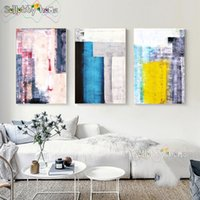 Wholesale abstract art paintings for kids resale online - Abstract Wood Art Module Nordic Art Canvas Painting Wall Kids Bedroom Posters And Prints For Living Room Wall Painting