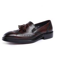 мужская обувь из кожи ручной работы оптовых-Autumn Genuine Leather Handmade Black Red Mens Loafers With Tassel Man Dress Shoes Wedding Moccasin Party Footwear JS-A0034