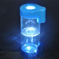 magnify led ışık toptan satış-Plastik Cam Işık-Up LED Hava Sıkı Geçirmez Depolama Büyüteç Stash Kavanoz Görüntüleme Konteyner 155 ML Vakum Mühür Plastik Hap Kutusu Kasa Şişe