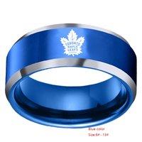 edelstahl-ring großhandel-Männlicher Ring des amerikanischen und amerikanischen Basketballteams Toronto Maple Leaf Teamlogo aus Edelstahl