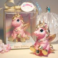 midilli bebeğim toptan satış-Mini Unicorn Modeli Sanat Kek Mum Düğün Çocuk Bebek Doğum Mumlar Dekor Pink Pony Mumlar Parti Hediyeler için