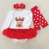 ingrosso regali di novità del bambino-Cotone Natale Neonato Toddler Bambini Neonate Vestito infantile Pagliaccetto Tuta Completi Tute Novità Novità Renna Regali per feste di Natale