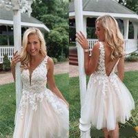 Wholesale deep pink graduation dress resale online - Sexy V Backless Cheap Homecoming Dresses Lace Applique Deep V Neck Maid of Honor Party Gowns A Line Tulle Graduation Cheap Dress