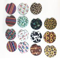 Neoprene Car Cup Mat Contrast Mug Coaster Flower Teacup Rainbow colors Pad for Home Decor Accessories
