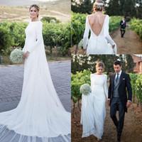 959f19faa8235 plain wedding dresses sleeves 2019 - 2019 Simple Plain Long Sleeve Wedding  Dresses Bateau Backless Sweep