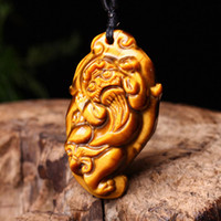 Wholesale carved jade animals for sale - Group buy Tigers Eye Stone Pendant Drop Shipping Hand Carved Jade Brave Troops Necklace With Chain Amulet Fine Jewelry For Men Women Gift