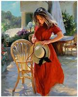 nächstes rot großhandel-Kits Malen Ölfarbe Erwachsene Handgemalte DIY Malen Nach Zahlen-Rotes Kleid neben dem Stuhl 16