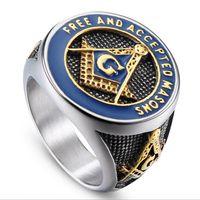 anéis maçônicos americanos venda por atacado-Europeus e Americanos moda religião aço titanium maçônica anel punk homens retro anel de queda de aço inoxidável HZ002 relatório
