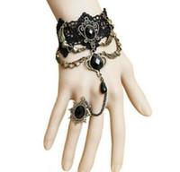pulseras de metal de encaje negro al por mayor-Pulsera cordón de Nueva Negro dedo de la mano de la cadena del arnés de las mujeres pulsera cristalina del metal del encanto de Steampunk Señora vendimia de la joyería de alta calidad
