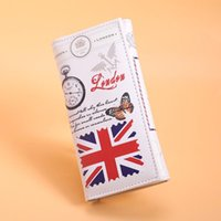 brieftasche flagge großhandel-Britische Flagge Muster Geldbörse Frauen Geldbörsen Karten Id Halter Dame Geldbörsen Handtaschen Lange Clutch Moneybags Mädchen Brieftasche Burse Taschen