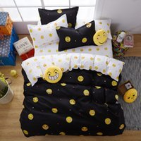 Wholesale Cartoon Bedding Set Cute Emoji Smiling Face Duvet Cover Pillowcases Polyester Bedclothes Twin Queen King Size for Kids Black Color
