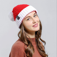 Wholesale red crochet hat for sale - Group buy Winter Women Knitted Hat Warm Pom Pom big ball Wool Hat Santa Claus Skull Beanie Solid Crochet Ski Outdoor Caps Christmas LJJA3437