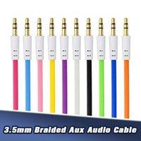 Wholesale 3FT Braided Audio Cable M mm Nylon Auxiliary Male to Male Extended Aux Cords for Samsung Phones MP3 Speaker