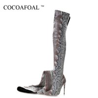 Wholesale skins boots resale online - COCOAFOAL Retrieves Winter Women Over The Knee Lairs Woman Tall Lairs Snake Skin Pattern Mode Sexy Over The Knee Boots