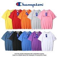 waschen t shirts großhandel-Hochwertiges 2019 Summer Men T-Shirt mit Waschmarke + gefälschte Anti-Fälschungsschnalle Champions C - großes besticktes Damen-Kurzarm-T-Shirt