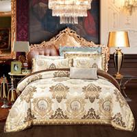 Wholesale european pillowcase size for sale - Group buy European style golden jacquard satin luxury bedding sets bedclothes queen king size duvet cover bed linen sheet set pillowcase LJ200812