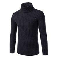 camisas de lino largas al por mayor-Patrón para hombre otoño e invierno de lino de la solapa de cuello alto de manga larga sólido suéter de la camisa del color de punto Bottoming
