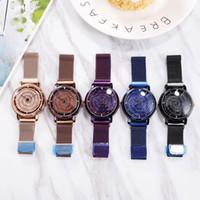 relógio pulseira roxa venda por atacado-Cinta de malha de liga roxa senhoras relógio de alta qualidade bonito relógio de discagem rotativa pulseiras de Personalidade