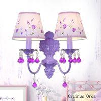 Wholesale purple romantic bedding for sale - Group buy Korean Pastoral Purple Crystal Wall Lamp Girls Bedroom Bedside Lamp Creative Romantic LED Crystal Wall