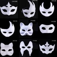 weiße maskenmalerei gesichter großhandel-Make-up Tanz weiße Masken Embryo Schimmel Malerei handgemachte Maske Pulp Festival Krone Halloween weiße Gesichtsmaske TTA1542