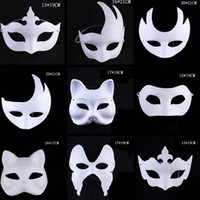 Wholesale pulp face masks for sale - Group buy Makeup Dance White Masks Embryo Mould Painting Handmade Mask Pulp Festival Crown Halloween White Face Mask TTA1542