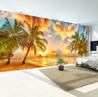 Wholesale wallpapers for walls beach for sale - Group buy Large Custom Wall Mural Non woven Wallpaper Beach Sunset Coconut Tree Nature Landscape Photo Backdrop Wallpapers For Living Room