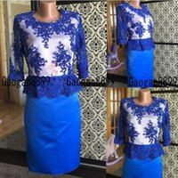 Wholesale hunter green dresses women for sale - Group buy 2019 Elegant royal blue Mother Of The Bride Dresses Lace Illusion half Sleeve knee Length Evening Gowns Plus Size women Cocktail Prom Dress