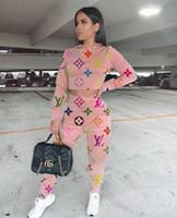 ingrosso colletto t-shirt sportive-Le donne Set lettera di modo signore sexy di stampa 2 pezzi set Tuta autunno pantaloni camicia Donne con cappuccio collare T tuta sportiva tuta da jogging