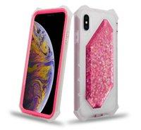 caixa de telefone líquido 3d venda por atacado-Mais novo líquido brilho defensor phone case 3d areia movediça brilhando estrelas limpar capa protetora para iphone xs max xr x 8 plus 7 6
