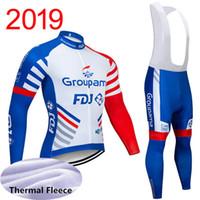kış bisikleti toptan satış-Kış Termal Polar 2019 FDJ Bisiklet Jersey Uzun Kollu Bisiklet Giyim Önlüğü Pantolon Set Bisiklet Giysileri Ropa Ciclismo Spor Uniformes Y030618