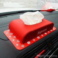 использованные промахи оптовых-Роскошный кожаный автомобиль Tissue Box двойного назначения противоскользящий мобильный держатель для укладки автомобилей Creative Tissue Boxes
