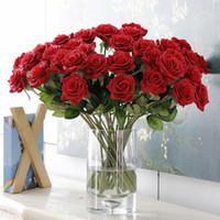 seide rosen blumen lila großhandel-1 stück Silk Roses Künstliche Blumen Hochzeitsdekoration Gefälschte Blumen Weiß Blau Grün Rosa Rot Lila Künstliche Seidenrosen