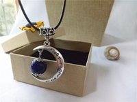 Wholesale cecmic vintage silver necklaces letters personalized magic moon pendant jewelry designer with blue ceramic bead thingsrememberec