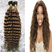 Wholesale ombre glue hair extensions remy for sale - Group buy 100s Brazilian virgin kinky curly hair Fusion Hair U Tip Pre Bonded Keratin Glue Remy Natural Human Hair Extensions strands
