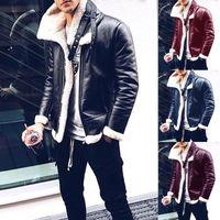 abrigo largo para hombre de cuero casual al por mayor-Hombre del diseñador de imitación de cuero chaquetas de invierno para hombre mangas larga gruesa prendas de vestir exteriores de la manera representan la capa del collar de la cremallera ropa masculina