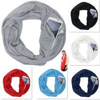 Wholesale infinity scarves for women for sale - Pocket Scarves For Women Girls Lightweight Infinity Scarf Wrap Hidden Zipper Pocket Travel Scarfs Storage Bib Christmas Gift HH7