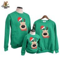chemise de famille achat en gros de-Vêtements de famille 2019 Automne Hiver Chandail Noël Cerf Enfants Vêtements Chemises Enfant Polaire polaire Chaud Famille Assorties Tenues